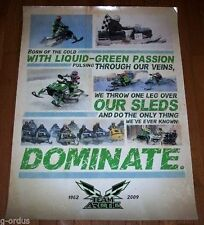 ARCTIC CAT SNOWMOBILES DOMINATE LIQUID GREEN PASSION THROUGH OUR VEINS POSTER!