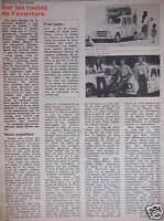 ARTICLE DE PRESSE EN RENAULT 4 SUR LES ROUTES DE L'AVENTURE R.PERRAUD A.PÉRIOU