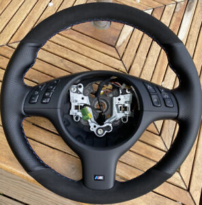 BMW M5 E39 M3 E46 CUSTOM ALCANTARA PERFORATED LEATHER WRAPPED STEERING WHEEL