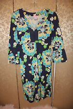 Lilly Pulitzer Blue Yellow Mulit-Color Floral Bell Sleeve TWYLA Dress Small S