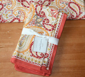 Pottery Barn Lia Paisley 4 napkins Sold Out Warm Orange New with Tags