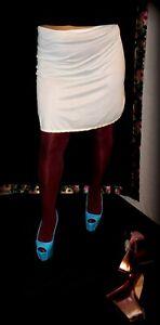 Vtg., GlossyGirl, Shiny Light Blue, Nylon Half Slip, Small Lace Hem, M