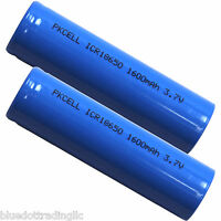 2 PKCell ICR 18650 NEW 30A Li-Ion RECHARGEABLE BATTERY 1600mAh 3.7v 18650 Blue