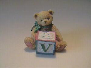 "VINTAGE 1995 ENESCO ""V"" BLOCK INITIAL BEAR"