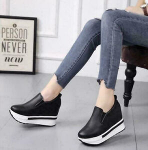 Womens Wedge High Heels Casual Slip On Sneakers Loafers Platform Mules Shoes