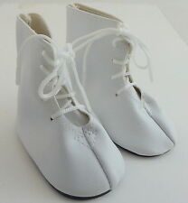 """Pair of Dolls Delight Shoes White Lace UP Boots to Fit 18"""" Doll Length 3""""  7.5cm"""