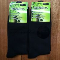 3 Pairs SIZE 6-11 95% BAMBOO SOCKS Men's Premium Work/School Socks Comfort Black