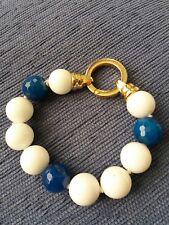 Bracciale di agata sfere bianche e blu