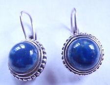 Lapis Round 925 Sterling Silver Wire Back Earrings Corona Sun Jewelry