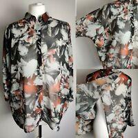 RIVER ISLAND Women Top Shirt Blouse Floral Print Sheer Open Bag Collar Spring 10