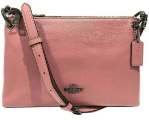 Coach F76645 Mia Pink Rose Pebble Leather Double Zip Crossbody NWT $328 MSRP FS