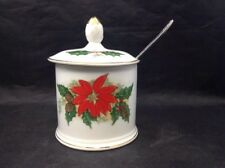 Vintage Christmas Sugar Dish Holly and Poinsettia with gold Trim Spoon