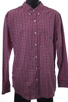 Chaps Easy Care Men Long Sleeve Plaid Button Down Shirt Size Large Red Blue