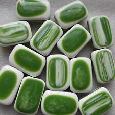 10 rettangolo bianco con stampa verde effetto Motivo Perline Taglia 15 mm - 30 mm