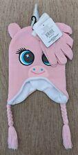 Girls Winter Hat Toboggan Knit Cap Gloves Set Unicorn Soft Fleece Lined