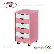 Caisson 6 tiroirs rangement bureau chambre enfant blanc rose bois sur roulettes