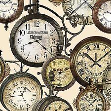 Train Station Clocks-Cream B/G-Kanvas Prints-By The Yard-Clocks-Train Stations