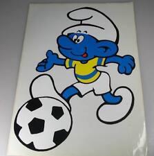 Fußball SCHLUMPF alter großer 30cm Aufkleber aus 1979 Big Vintage Smurf Sticker