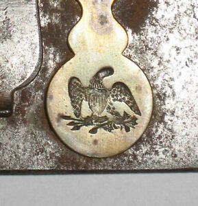 c1820 Strong Box US FEDERAL Military EAGLE Engraved KEY LOCK Cover +LATCH PLATE