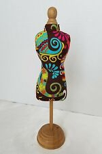 """Mini Dress Form Mannequin Table Top Display Jewelry Fabric & Wood 11 3/4"""""""