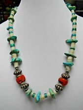 VINTAGE CHINESE TURQUOISE CORAL AGATE NECKLACE Silver Tone Beads