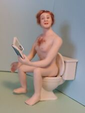 miniature porcelain dollhouse doll mature audience adult humor funny man toilet