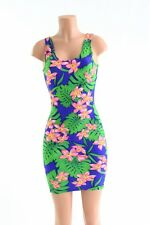 SMALL Hawaiian Floral Tank Style Bodycon Clubwear Rave Dress