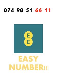 EE Network Trio Sim Card Easy Number Platinum Gold Vip Memorable 074 98 51 66 11