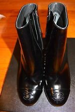 NIB CHANEL Boots Shiny Patent Leather Short $1175 Authentic