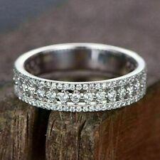Pave Wedding Ring 14k White Gold 1.40 Ct Diamond Eternity Band Thin
