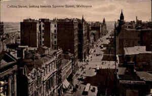 ~1920/30 Postcard Australia MELBOURNE Australien Spencer Street Business Gebäude