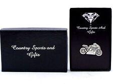 Motorcycle Motorbike English Pewter Lapel Pin Badge Brooch Hand Made - Gift Box