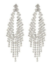 CLIP ON EARRINGS - silver chandelier earring with clear crystals - Caca S