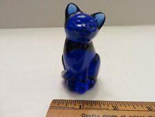 Cobalt blue, glass cat figurine, 3 inches tall