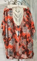 NEW ~Plus Size 3X 2X 1X Orange Brown Floral Ivory Crochet Open Duster Kimono $98