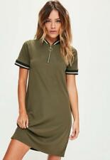 Missguided: Khaki Sports Ribbed Detail Shift Dress, Size 6 NWT