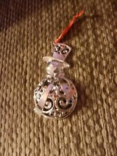 Lenox Silverplate Sparkle & Scroll Multi-Crystal Snowman Ornament Nib