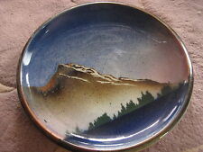 """Art Pottery Stoneware Landscape Plate, Signed By Artist 10 1/2"""" D, 2.1 Lbs"""