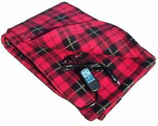 12 Volt 100% Fleece Red Plaid Heated Travel Blanket! Electric Throw Car Truck RV