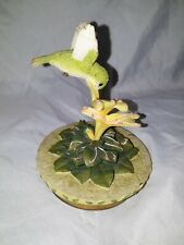 "4.5x3.5"" Plastic Humming Bird In Flower Candle Topper Collectible Home Decor"