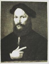 Gravure c1874 Portrait d'homme D'ap Sébastien del Piombo . Graveur : Le Rat