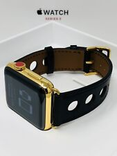 24K Gold Plated 42MM Apple Watch SERIES 3 with Black Leather Modern Band