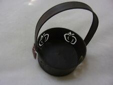 Primitive Country Metal Basket with Apple Cut-Outs & Bow