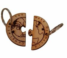 World of Two Half's Keyring Engraved : Couples Gift, His, Her, Boyfriend
