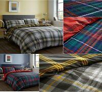 Luxury TARTAN CHECK SEERSUCKER Ruffle Pleated Duvet Cover+PillowCase Bedding Set