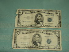 LOT OF TWO (2) FIVE DOLLAR ($5) SILVER CERTIFICATE PAPER MONEY