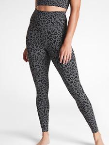 ATHLETA Leopard Elation Ultra High Rise Tight M PETITE MP Grey YOGA #501019