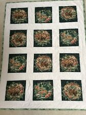 Handmade Lap-Throw Quilt -WOODLAND ANIMALS: DEER, MOOSE AND BEARS NICE!!!! NEW