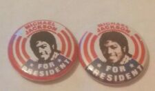 2 DIFFERENT MICHAEL JACKSON FOR PRESIDENT BADGES MINT CONDITION