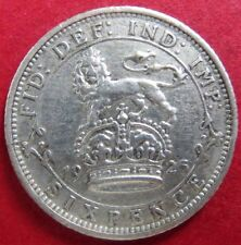 """Vintage 1925 U.K. SIX PENCE SILVER COIN, King George V """"AU"""" Condition, NICE COIN"""